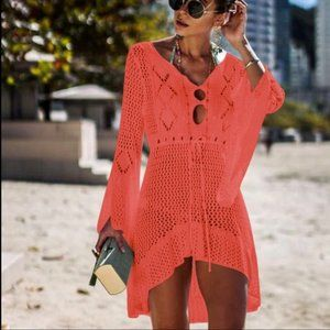 Eye-Catching Boho Knit Bathing Suit Cover-Up Coral
